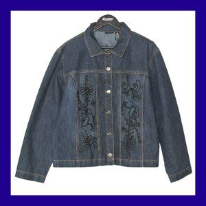 CHICO'S  Embroidered Denim Jacket XL 16 18